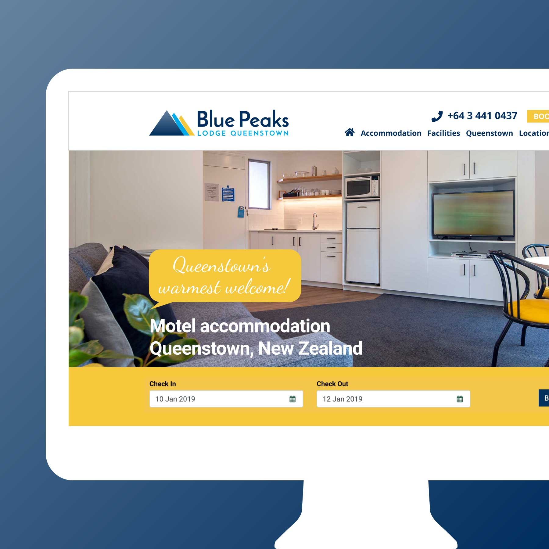 Blue Peaks Lodge & Apartments Wanaka Web Design