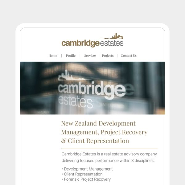 Cambridge Estates Wanaka Web Design
