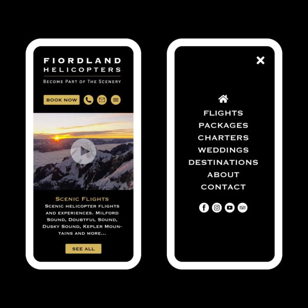 Fiordland Helicopters Scenic Flights Wanaka Web Design
