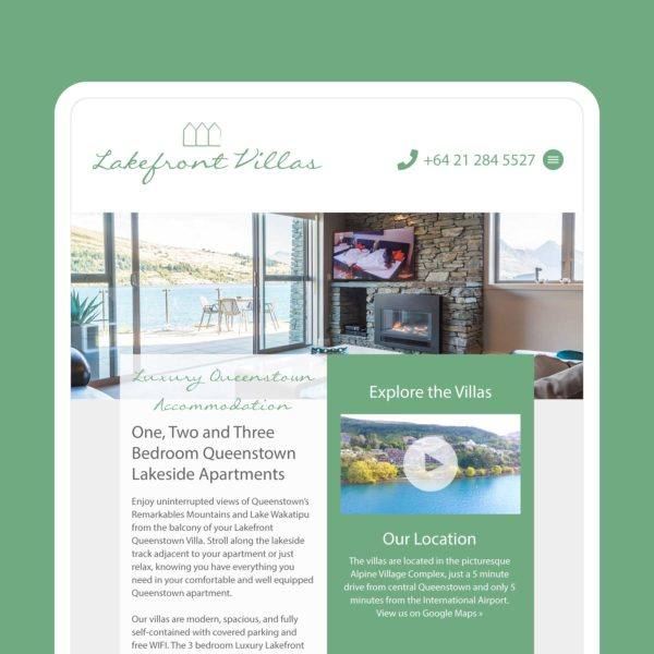 Lakefront Villas Wanaka Web Design