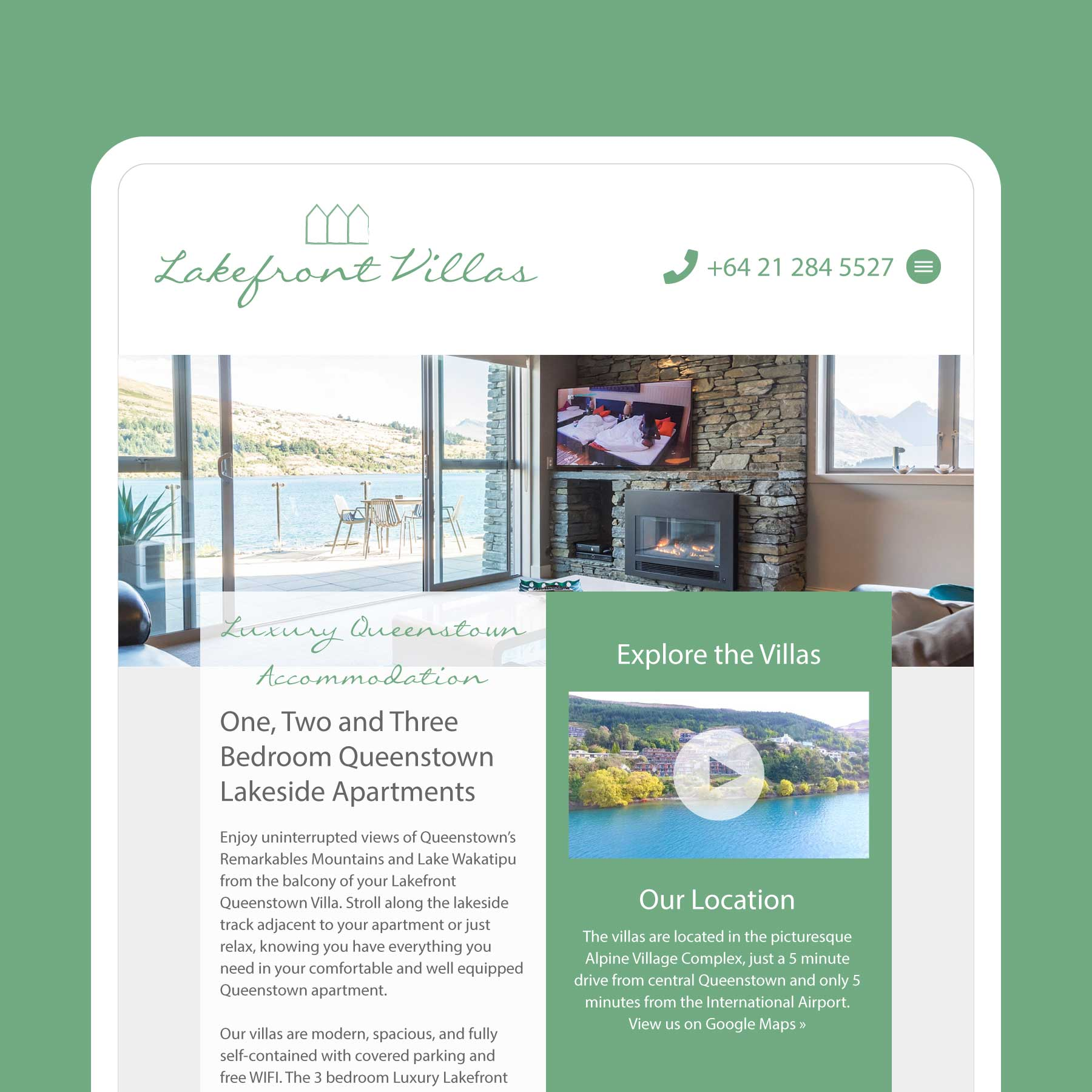 Lakefront Villas Luxury Accommodation Wanaka Web Design