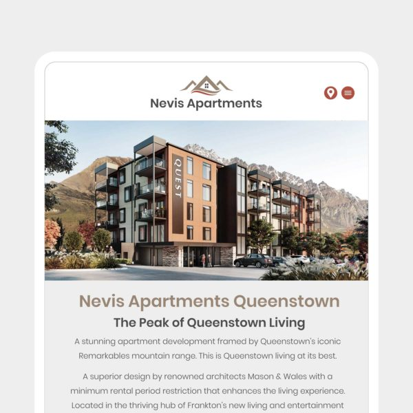 Nevis Apartments Accommodation Wanaka Web Design