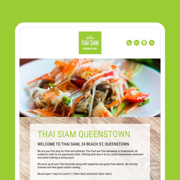 Thai Siam Thai Restaurant & Takeaway Wanaka Web Design