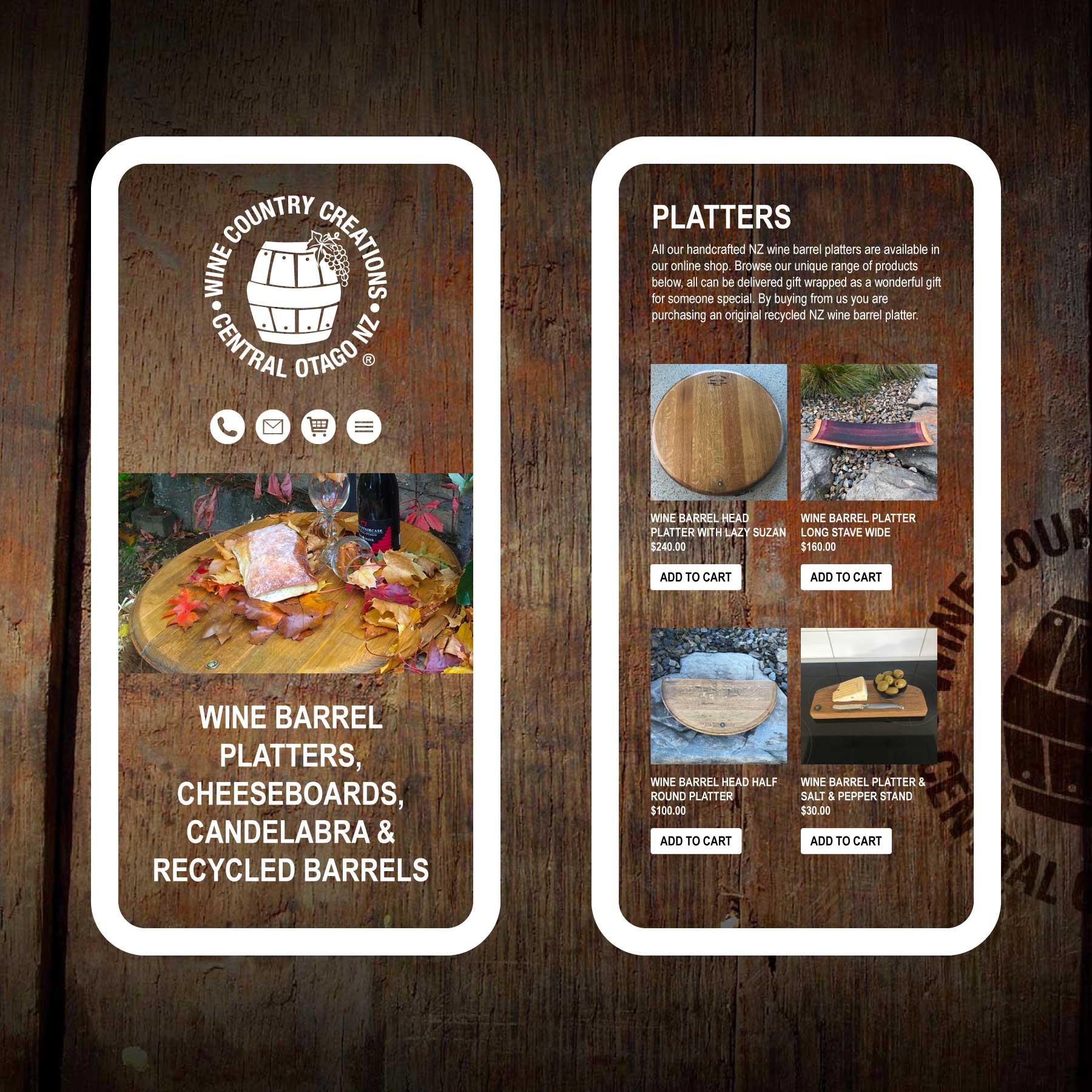 Wine Country Creations Wine Barrel Platters Wanaka Web Design
