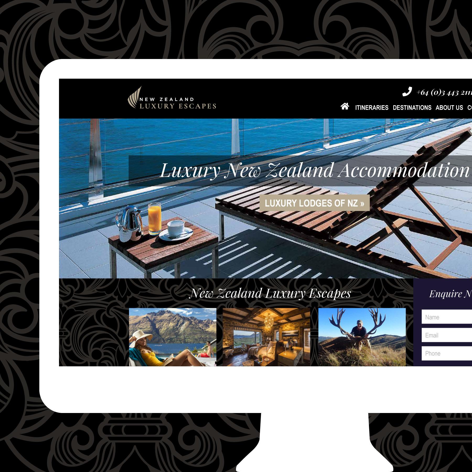 New Zealand Luxury Escapes Wanaka Web Design
